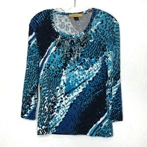 ST JOHN blue and black beaded top